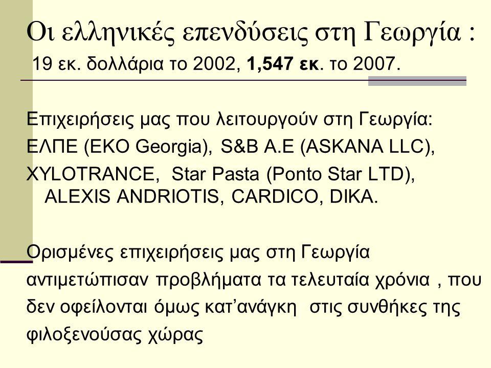 Οι ελληνικές επενδύσεις στη Γεωργία : 19 εκ. δολλάρια το 2002, 1,547 εκ. το 2007. Επιχειρήσεις μας που λειτουργούν στη Γεωργία: ΕΛΠΕ (EKO Georgia), S&