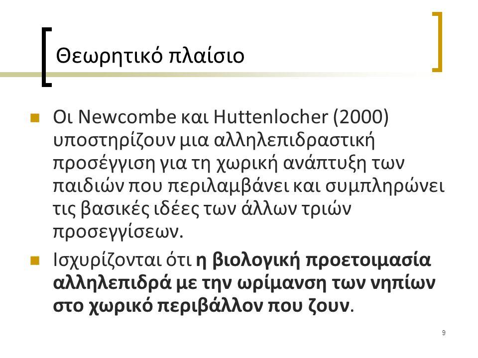 9 Θεωρητικό πλαίσιο  Οι Newcombe και Huttenlocher (2000) υποστηρίζουν μια αλληλεπιδραστική προσέγγιση για τη χωρική ανάπτυξη των παιδιών που περιλαμβ