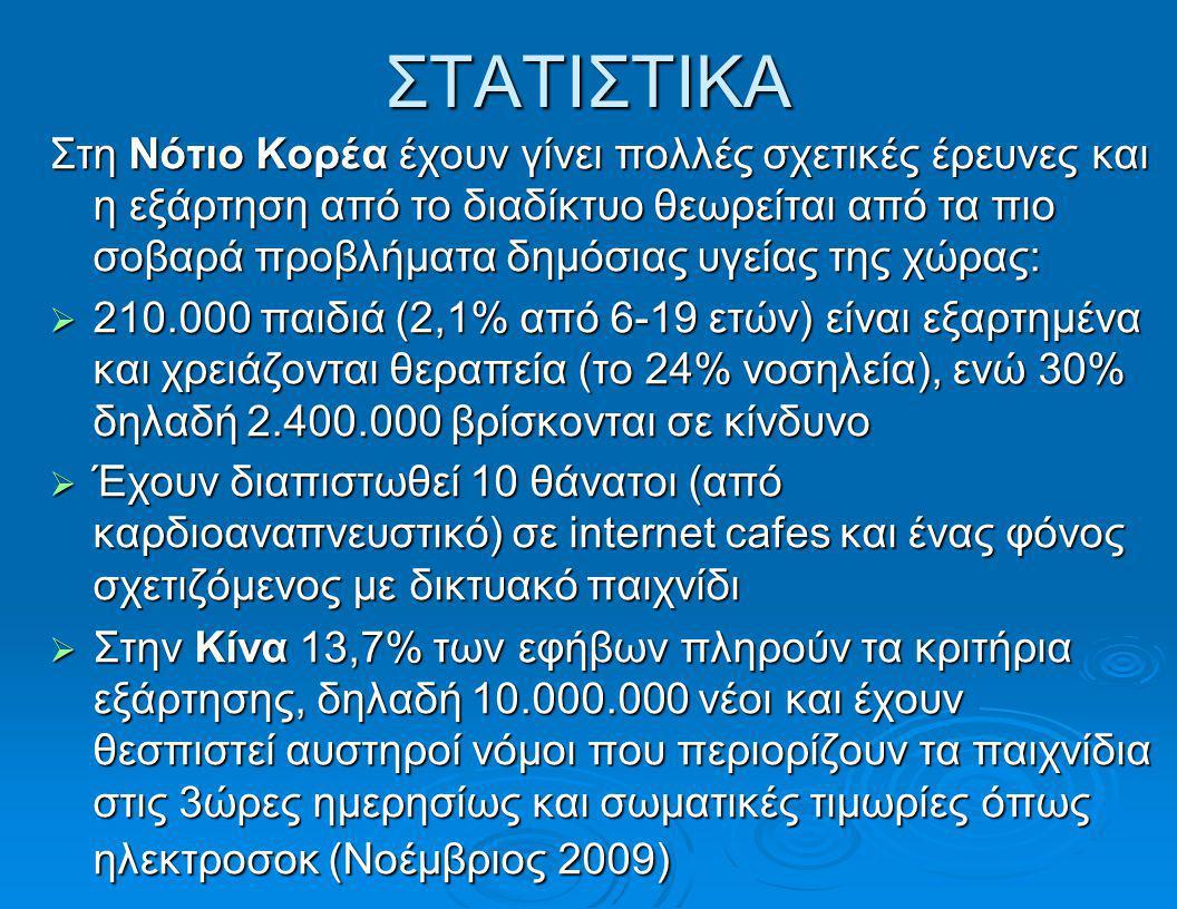 ΣΤΑΤΙΣΤΙΚΑ  Στις U.S τα στοιχεία είναι ελλειπή, διότι η πρόσβαση στο διαδίκτυο γίνεται κυρίως από τα σπίτια και σε απόπειρες μετρήσεων φάνηκε ότι υπάρχει ντροπή, άρνηση και υποτίμηση της κατάστασης  Έρευνα στην Ελλάδα έδειξε ότι το πρόβλημα είναι εντονότερο στην επαρχεία με ποσοστά εθισμού 5,9% των εφήβων χρηστών του διαδικτύου στη Λάρισα, 11,7% στο Βόλο, και 8,2% μέσο όρο (Σιώμος) και μόλις 1% στην Αθήνα(Τσίτσικα )
