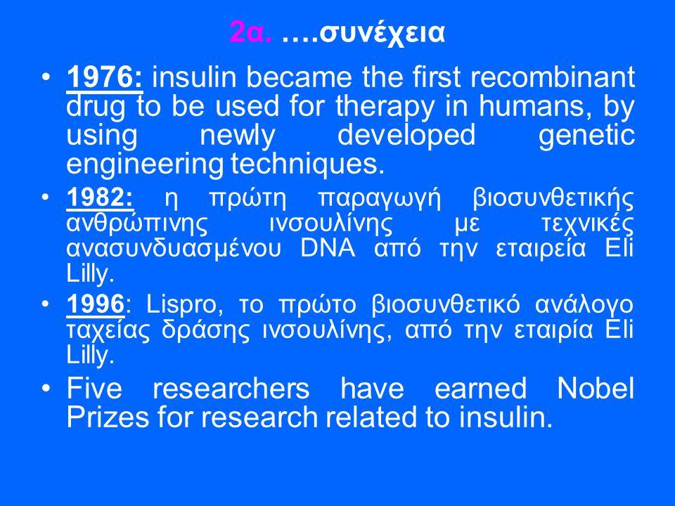 2α. ….συνέχεια •1976: insulin became the first recombinant drug to be used for therapy in humans, by using newly developed genetic engineering techniq