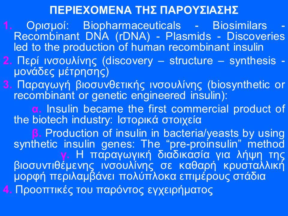 ΠΕΡΙΕΧΟΜΕΝΑ ΤΗΣ ΠΑΡΟΥΣΙΑΣΗΣ 1. Ορισμοί: Biopharmaceuticals - Biosimilars - Recombinant DNA (rDNA) - Plasmids - Discoveries led to the production of hu