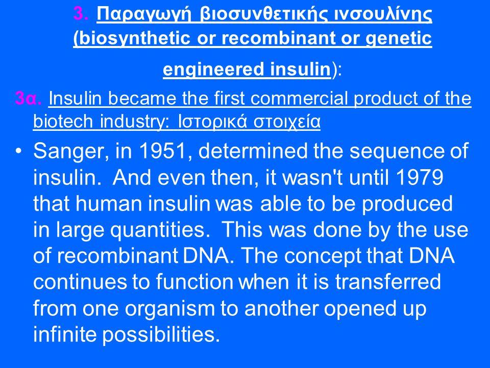 3. Παραγωγή βιοσυνθετικής ινσουλίνης (biosynthetic or recombinant or genetic engineered insulin): 3α. Insulin became the first commercial product of t