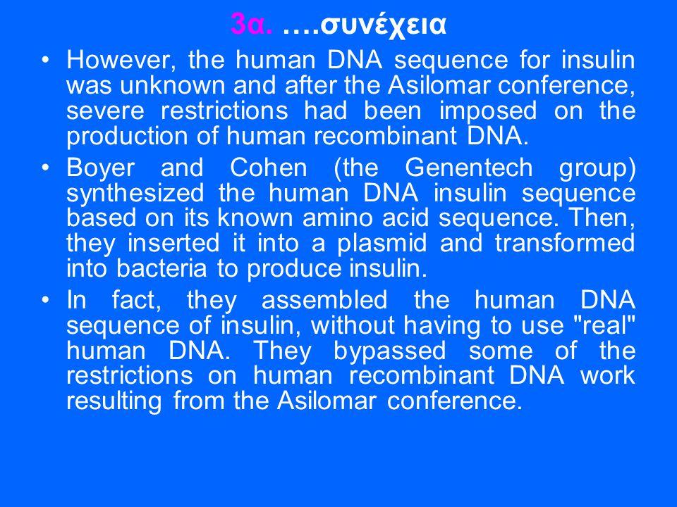 3α. ….συνέχεια •However, the human DNA sequence for insulin was unknown and after the Asilomar conference, severe restrictions had been imposed on the