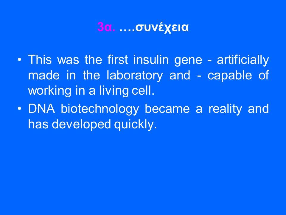 3α. ….συνέχεια •This was the first insulin gene - artificially made in the laboratory and - capable of working in a living cell. •DNA biotechnology be