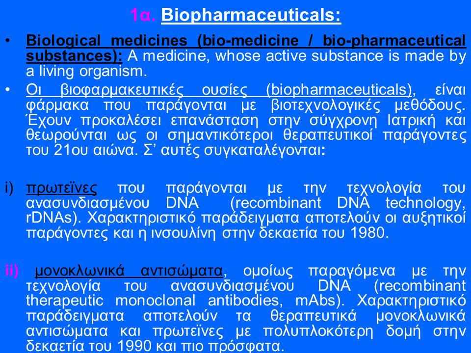 1α. Biopharmaceuticals: •Biological medicines (bio-medicine / bio-pharmaceutical substances): A medicine, whose active substance is made by a living o