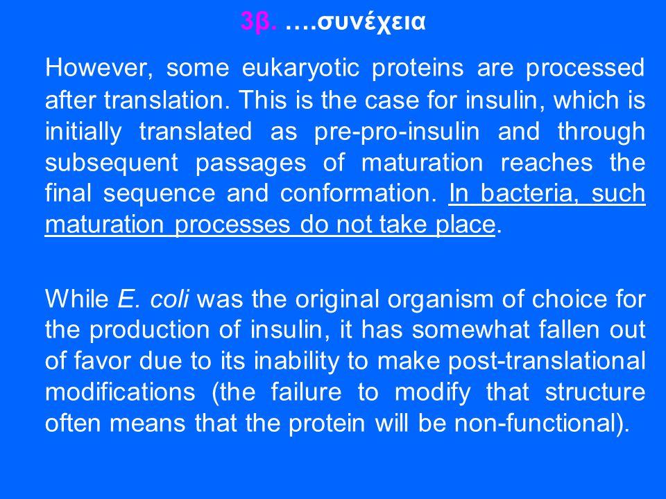 3β. ….συνέχεια However, some eukaryotic proteins are processed after translation. This is the case for insulin, which is initially translated as pre-p
