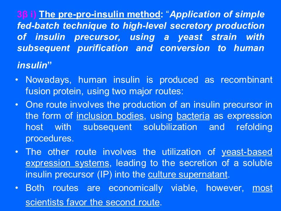 """3β i) The pre-pro-insulin method: """"Application of simple fed-batch technique to high-level secretory production of insulin precursor, using a yeast st"""