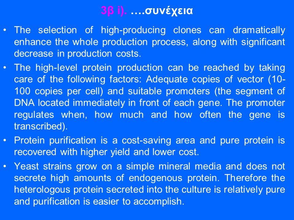 3β i). ….συνέχεια •The selection of high-producing clones can dramatically enhance the whole production process, along with significant decrease in pr