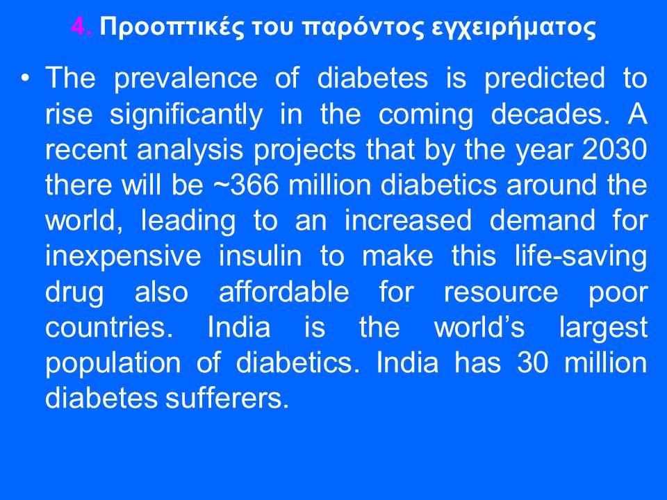 4. Προοπτικές του παρόντος εγχειρήματος •The prevalence of diabetes is predicted to rise significantly in the coming decades. A recent analysis projec