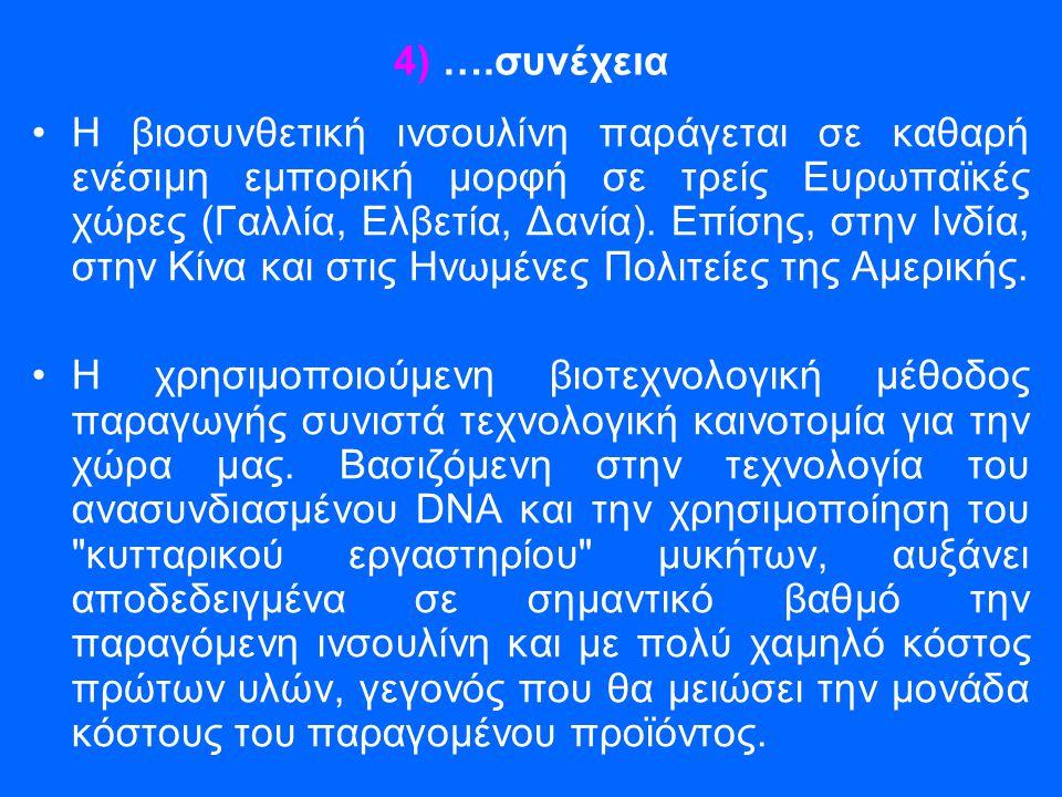 4) ….συνέχεια •Η βιοσυνθετική ινσουλίνη παράγεται σε καθαρή ενέσιμη εμπορική μορφή σε τρείς Ευρωπαϊκές χώρες (Γαλλία, Ελβετία, Δανία). Επίσης, στην Ιν