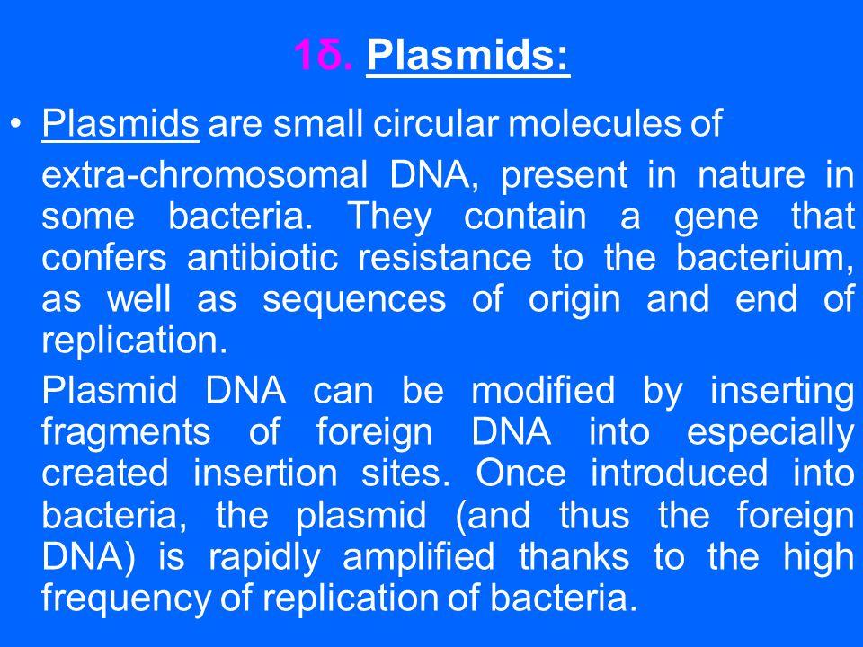 1δ. Plasmids: •Plasmids are small circular molecules of extra-chromosomal DNA, present in nature in some bacteria. They contain a gene that confers an