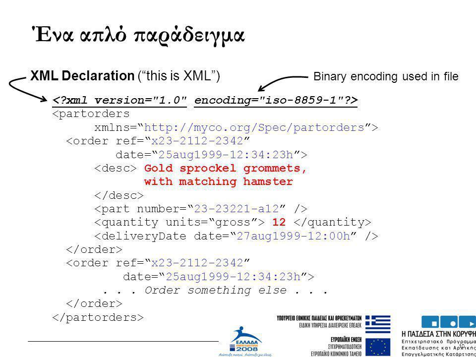 """10 Ένα απλό παράδειγμα <partorders xmlns=""""http://myco.org/Spec/partorders""""> <order ref=""""x23-2112-2342"""" date=""""25aug1999-12:34:23h""""> Gold sprockel gromm"""