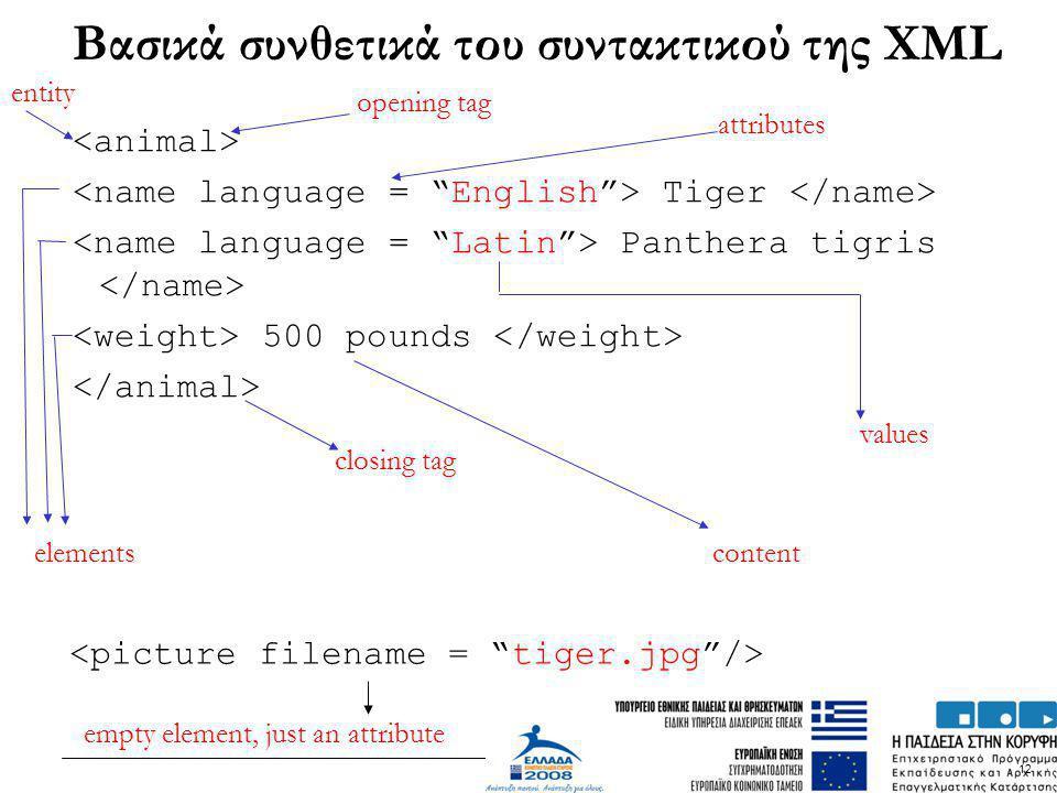 12 Βασικά συνθετικά του συντακτικού της XML Tiger Panthera tigris 500 pounds opening tag closing tag elements attributes values content empty element,