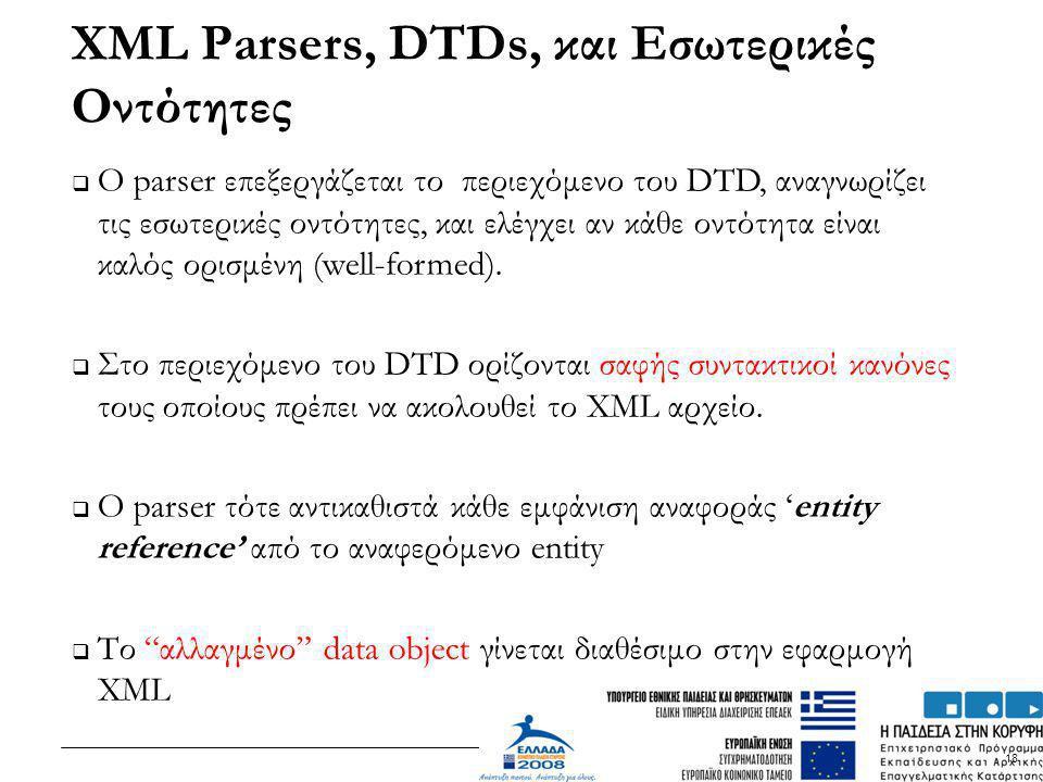 18  Ο parser επεξεργάζεται το περιεχόμενο του DTD, αναγνωρίζει τις εσωτερικές οντότητες, και ελέγχει αν κάθε οντότητα είναι καλός ορισμένη (well-form