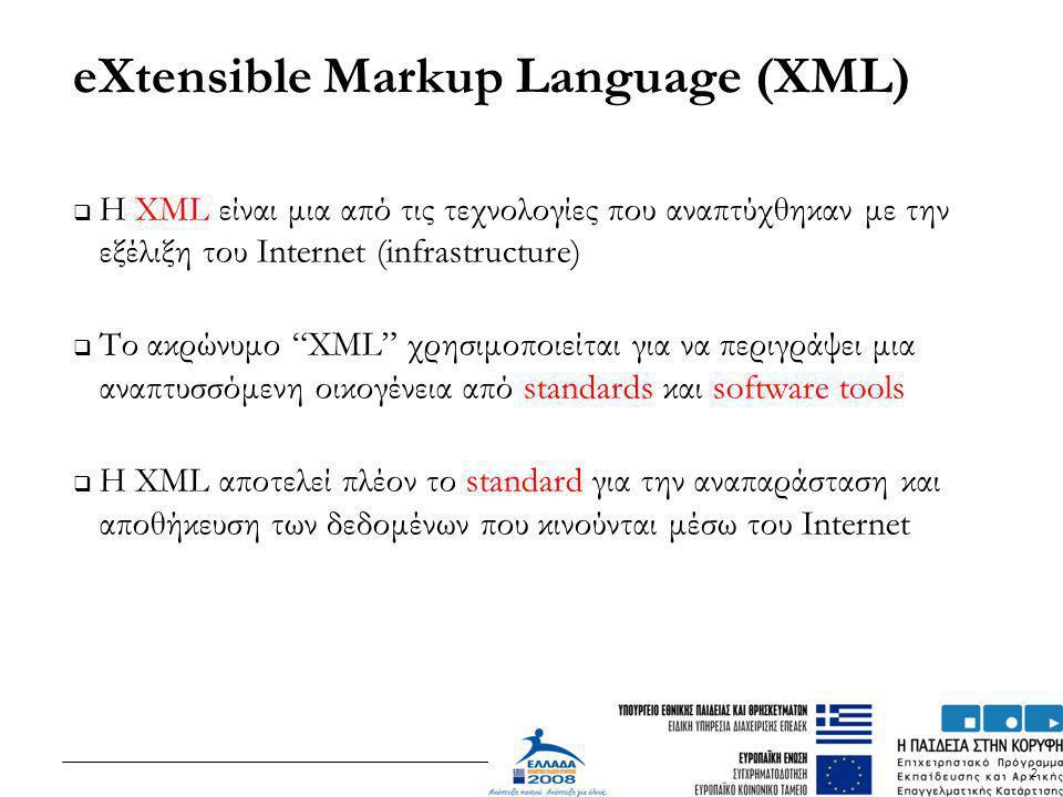 "2 eXtensible Markup Language (XML)  H XML είναι μια από τις τεχνολογίες που αναπτύχθηκαν με την εξέλιξη του Internet (infrastructure)  Το ακρώνυμο """