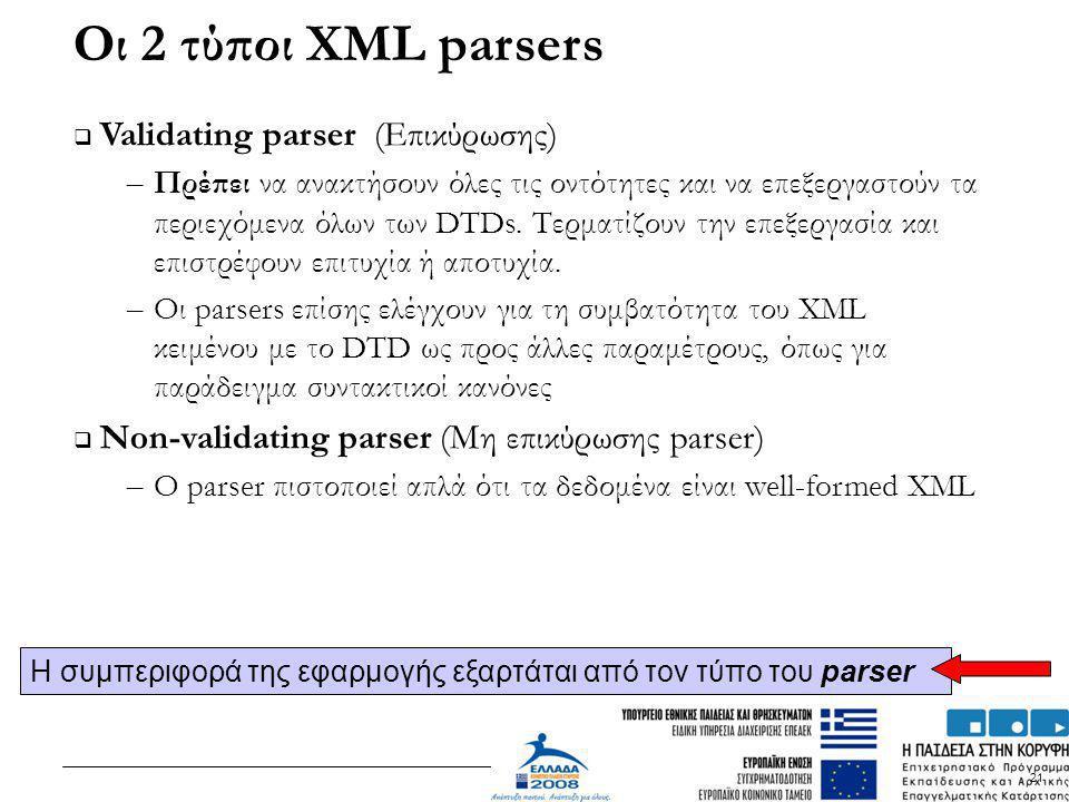21 Οι 2 τύποι XML parsers  Validating parser (Επικύρωσης) – Πρέπει να ανακτήσουν όλες τις οντότητες και να επεξεργαστούν τα περιεχόμενα όλων των DTDs