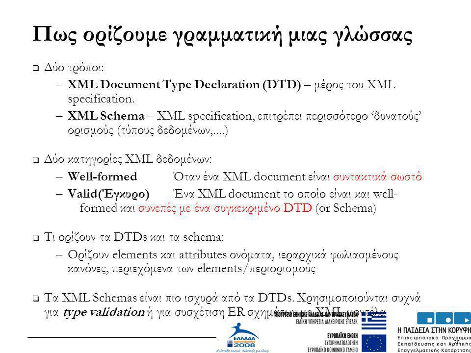 25 Πως ορίζουμε γραμματική μιας γλώσσας  Δύο τρόποι: – XML Document Type Declaration (DTD) – μέρος του XML specification. – XML Schema – XML specific