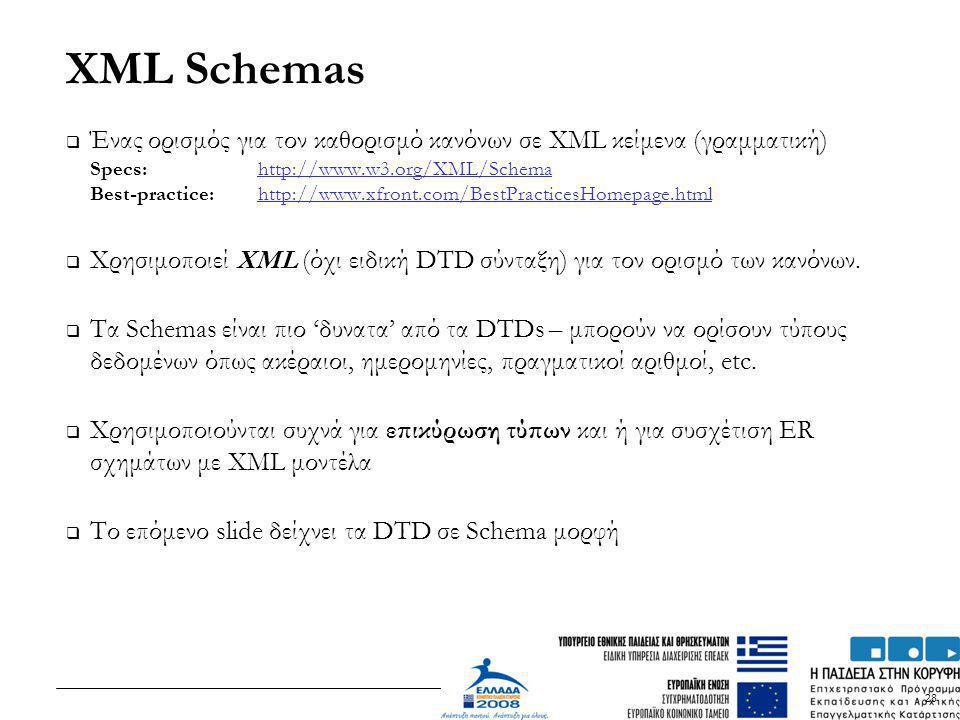 28 XML Schemas  Ένας ορισμός για τον καθορισμό κανόνων σε XML κείμενα (γραμματική) Specs: http://www.w3.org/XML/Schema Best-practice: http://www.xfro