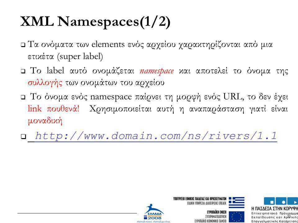 30 XML Namespaces(1/2)  Tα ονόματα των elements ενός αρχείου χαρακτηρίζονται από μια ετικέτα (super label)  Το label αυτό ονομάζεται namespace και α