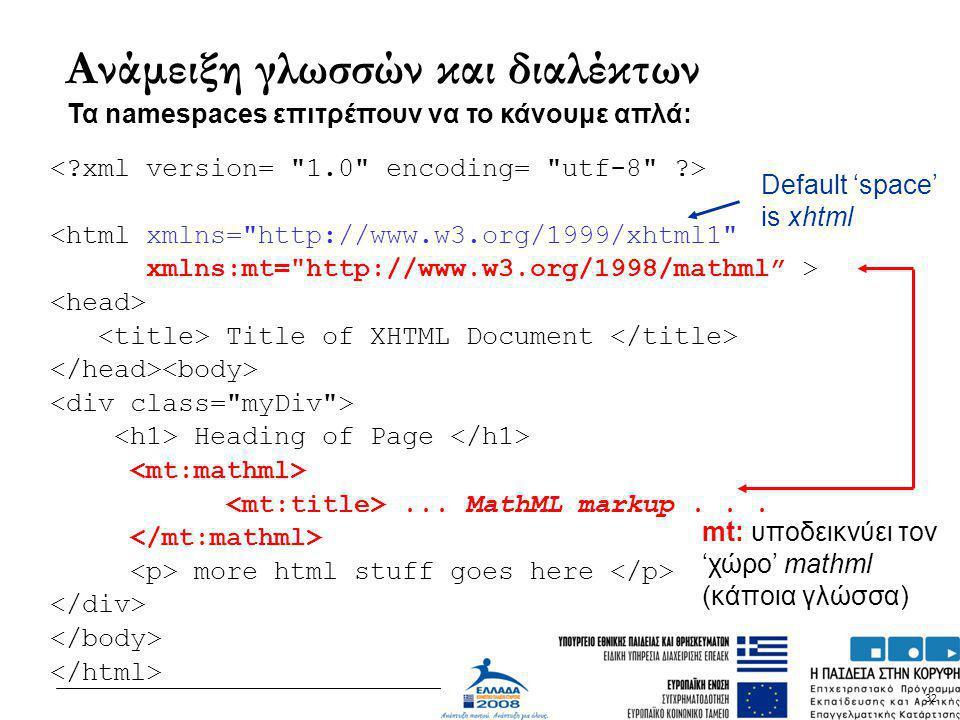 32 Ανάμειξη γλωσσών και διαλέκτων <html xmlns=