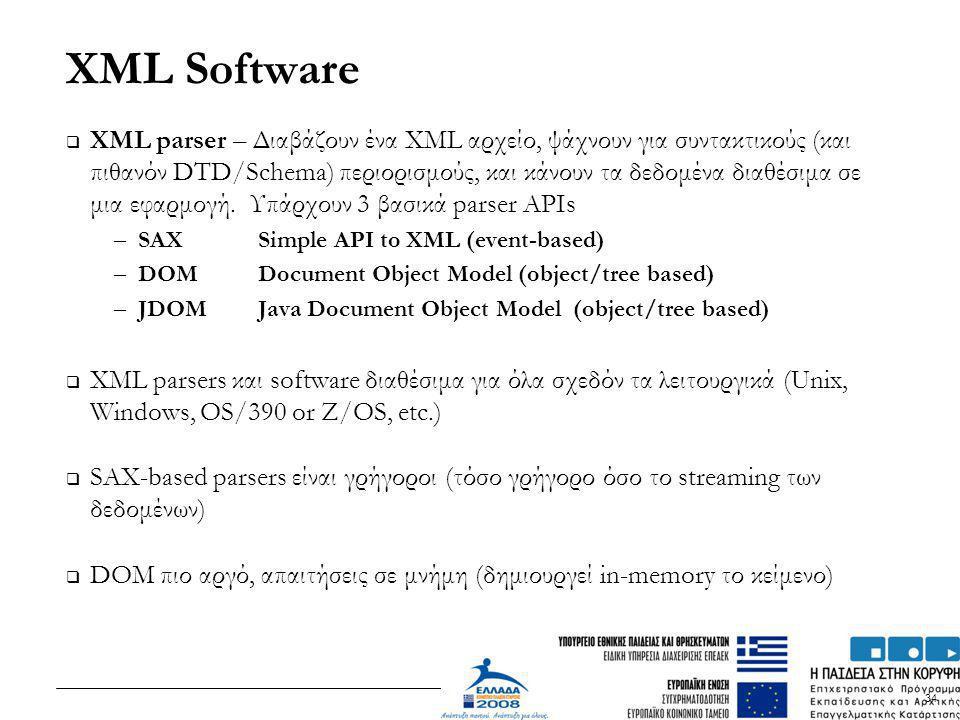 34 XML Software  XML parser – Διαβάζουν ένα XML αρχείο, ψάχνουν για συντακτικούς (και πιθανόν DTD/Schema) περιορισμούς, και κάνουν τα δεδομένα διαθέσ