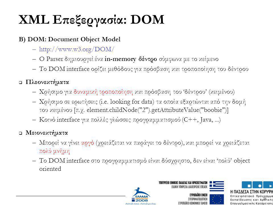 36 XML Επεξεργασία: DOM B) DOM: Document Object Model – http://www.w3.org/DOM/ – O Parser δημιουργεί ένα in-memory δέντρο σύμφωνα με το κείμενο – Το D