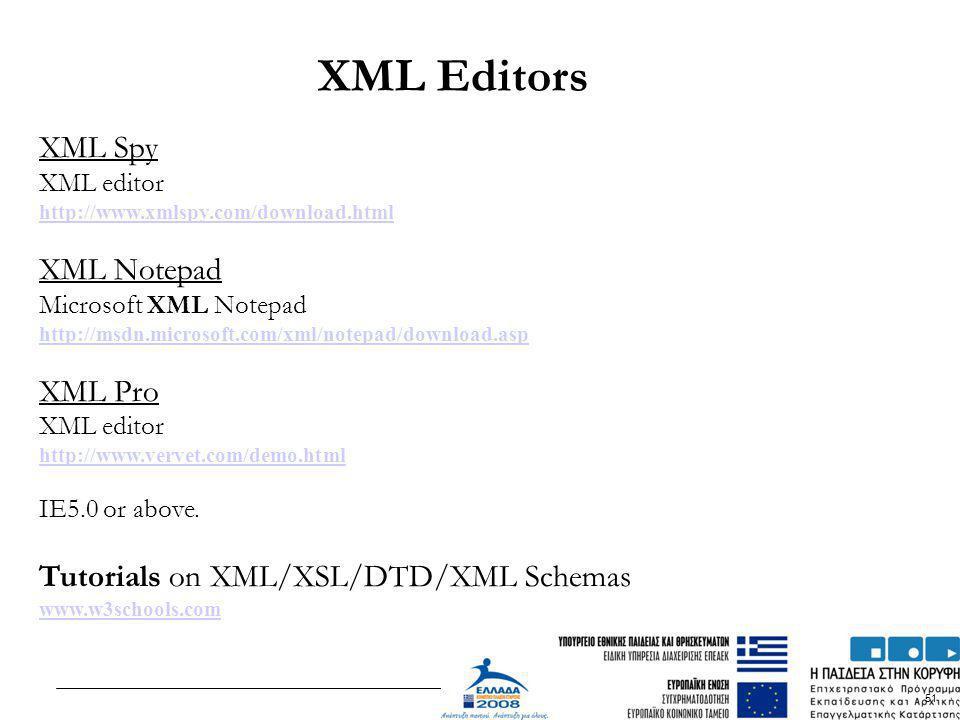 51 XML Spy XML editor http://www.xmlspy.com/download.html XML Notepad Microsoft XML Notepad http://msdn.microsoft.com/xml/notepad/download.asp XML Pro