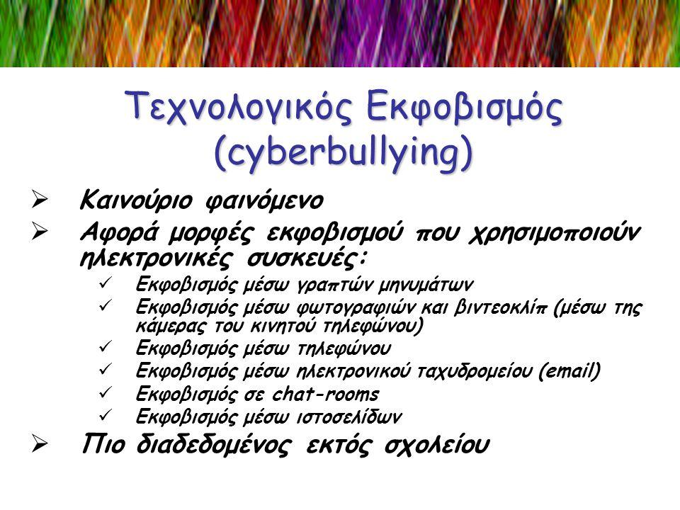Τεχνολογικός Εκφοβισμός (cyberbullying)  Καινούριο φαινόμενο  Αφορά μορφές εκφοβισμού που χρησιμοποιούν ηλεκτρονικές συσκευές:  Εκφοβισμός μέσω γρα