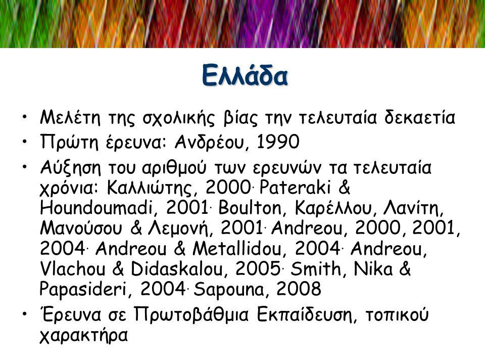 Ελλάδα •Μελέτη της σχολικής βίας την τελευταία δεκαετία •Πρώτη έρευνα: Ανδρέου, 1990 •Αύξηση του αριθμού των ερευνών τα τελευταία χρόνια: Καλλιώτης, 2
