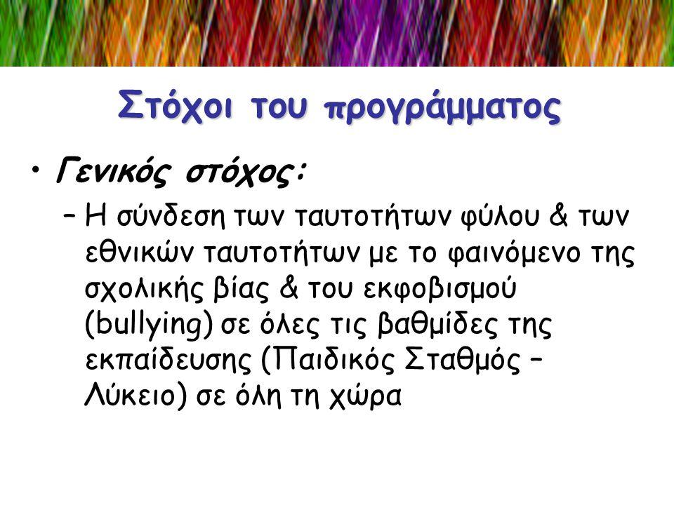 Στόχοι του προγράμματος •Γενικός στόχος: –Η σύνδεση των ταυτοτήτων φύλου & των εθνικών ταυτοτήτων με το φαινόμενο της σχολικής βίας & του εκφοβισμού (