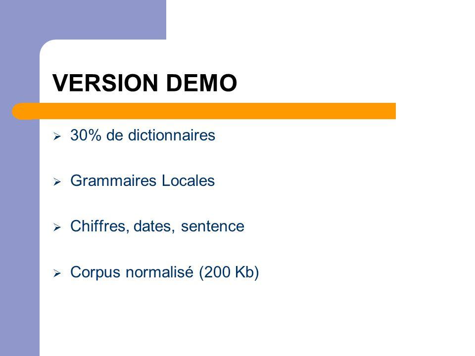 VERSION DEMO  30% de dictionnaires  Grammaires Locales  Chiffres, dates, sentence  Corpus normalisé (200 Kb)