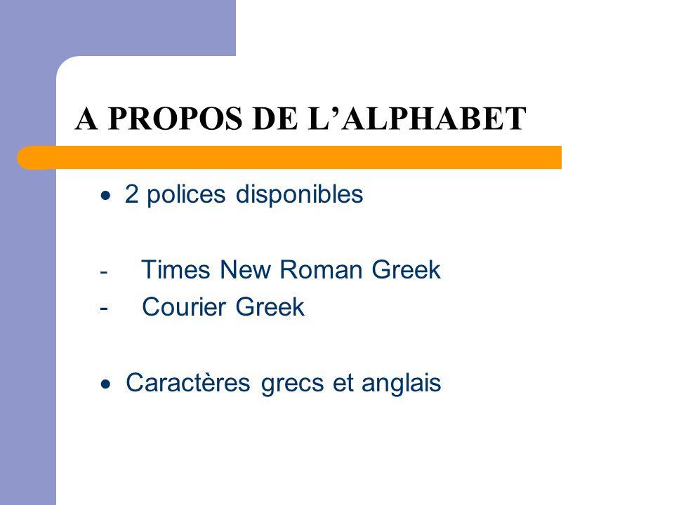 A PROPOS DE L'ALPHABET  2 polices disponibles - Times New Roman Greek - Courier Greek  Caractères grecs et anglais