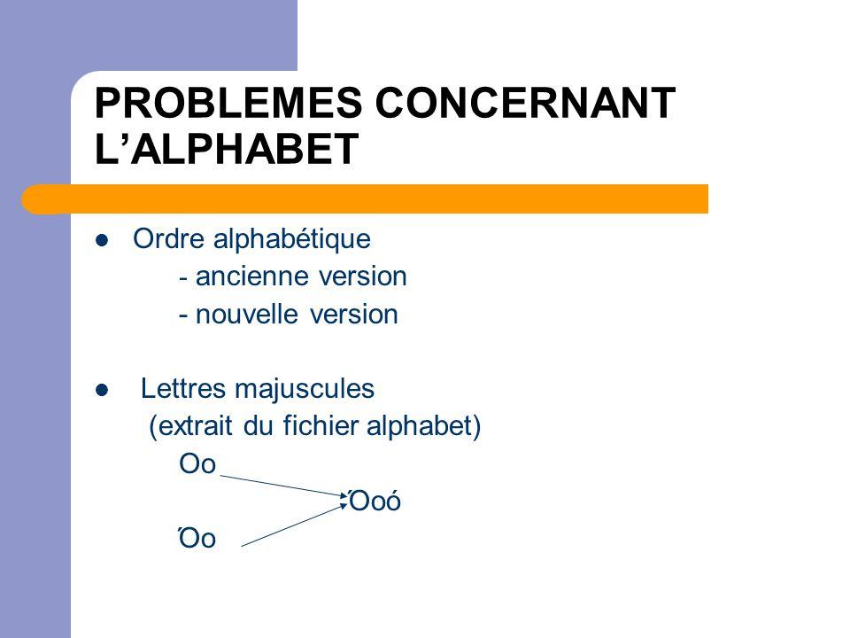 PROBLEMES CONCERNANT L'ALPHABET  Ordre alphabétique - ancienne version - nouvelle version  Lettres majuscules (extrait du fichier alphabet) Οο Όοό Όο