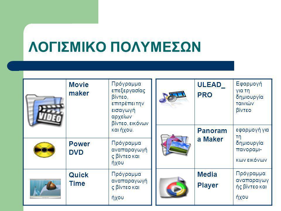 ΛΟΓΙΣΜΙΚΟ ΠΟΛΥΜΕΣΩΝ Movie maker Πρόγραμμα επεξεργασίας βίντεο, επιτρέπει την εισαγωγή αρχείων βίντεο, εικόνων και ήχου. Power DVD Πρόγραμμα αναπαραγωγ