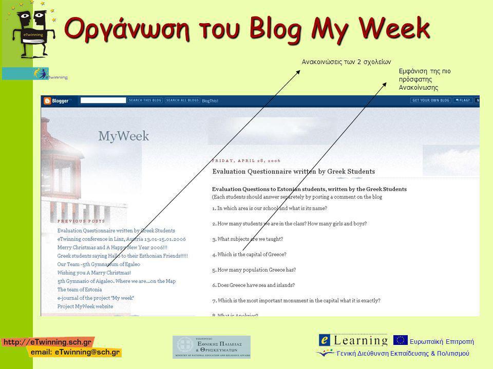 Ευρωπαϊκή Επιτροπή Γενική Διεύθυνση Εκπαίδευσης & Πολιτισμού Ανακοινώσεις των 2 σχολείων Εμφάνιση της πιο πρόσφατης Ανακοίνωσης Οργάνωση του Blog My W