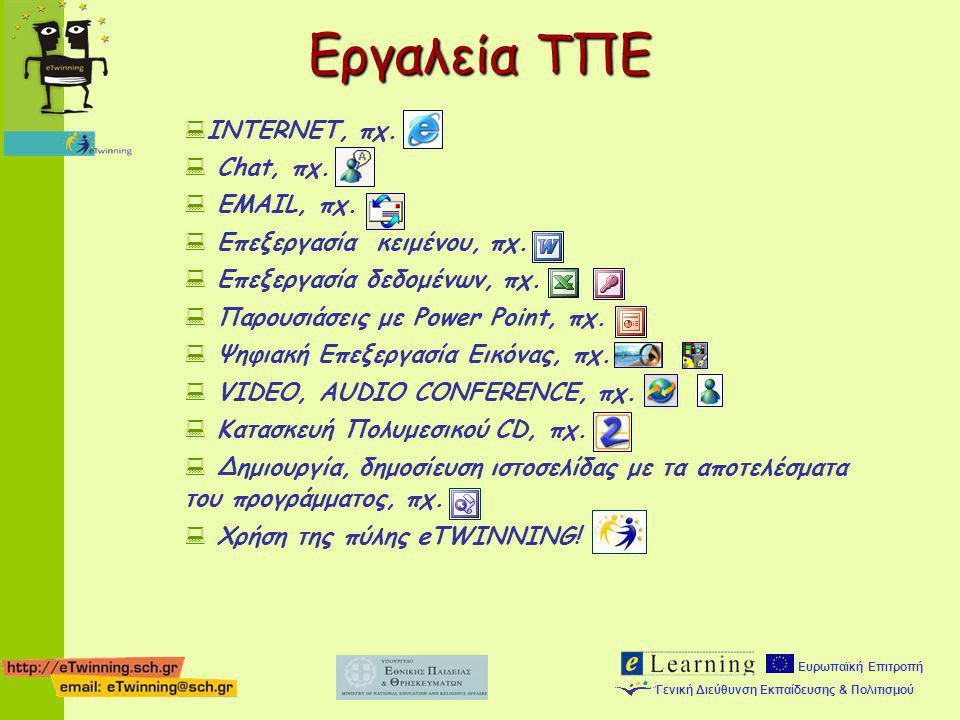 Ευρωπαϊκή Επιτροπή Γενική Διεύθυνση Εκπαίδευσης & Πολιτισμού  INTERNET, πχ.  Chat, πχ.  EMAIL, πχ.  Επεξεργασία κειμένου, πχ.  Επεξεργασία δεδομέ