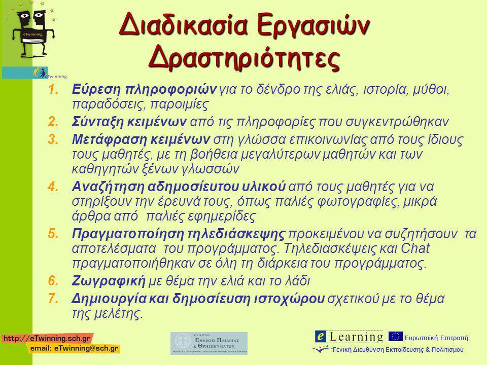 Ευρωπαϊκή Επιτροπή Γενική Διεύθυνση Εκπαίδευσης & Πολιτισμού 1.Εύρεση πληροφοριών για το δένδρο της ελιάς, ιστορία, μύθοι, παραδόσεις, παροιμίες 2.Σύν
