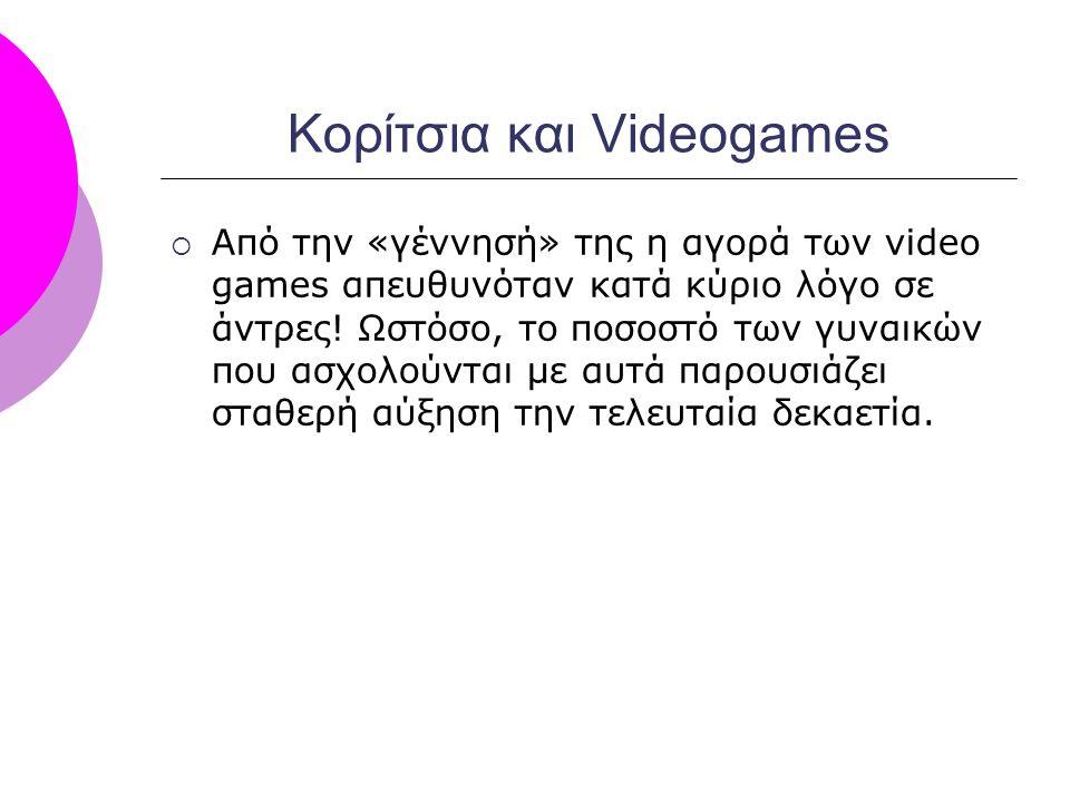 Κορίτσια και Videogames  Από την «γέννησή» της η αγορά των video games απευθυνόταν κατά κύριο λόγο σε άντρες! Ωστόσο, το ποσοστό των γυναικών που ασχ