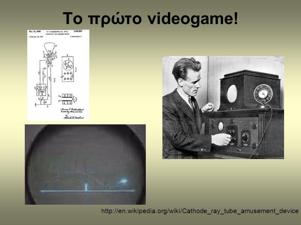 Δεκαετία του '60 •Τα πρώτα ηλεκτρονικά παιχνίδια τα έπαιξαν φοιτητές και μέλη επιστημονικών κοινοτήτων σε ερευνητικά ιδρύματα στη δεκαετία του '60 σε «χρονομισθωμένους υπολογιστές»!