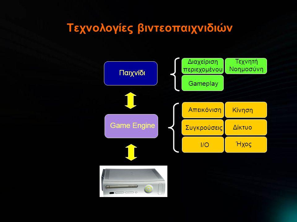 Τεχνολογίες βιντεοπαιχνιδιών Game Engine Απεικόνιση Δίκτυο I/O Ήχος Συγκρούσεις Κίνηση Παιχνίδι Διαχείριση περιεχομένου Τεχνητή Νοημοσύνη Gameplay