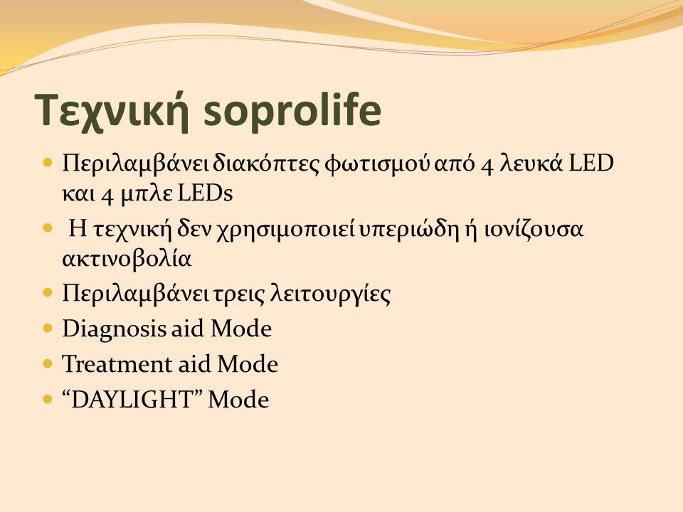Τεχνική soprolife  Περιλαμβάνει διακόπτες φωτισμού από 4 λευκά LED και 4 μπλε LEDs  Η τεχνική δεν χρησιμοποιεί υπεριώδη ή ιονίζουσα ακτινοβολία  Πε