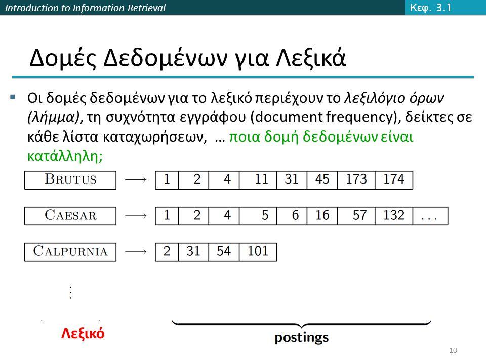 Introduction to Information Retrieval Δομές Δεδομένων για Λεξικά  Οι δομές δεδομένων για το λεξικό περιέχουν το λεξιλόγιο όρων (λήμμα), τη συχνότητα εγγράφου (document frequency), δείκτες σε κάθε λίστα καταχωρήσεων, … ποια δομή δεδομένων είναι κατάλληλη; Κεφ.