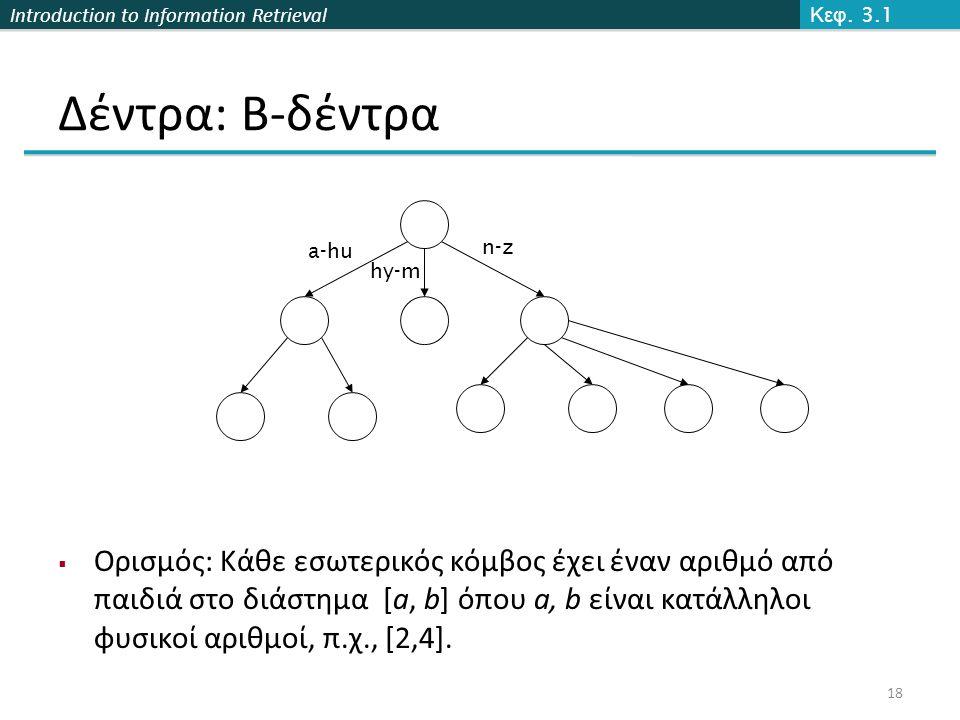 Introduction to Information Retrieval Δέντρα: B-δέντρα  Ορισμός: Κάθε εσωτερικός κόμβος έχει έναν αριθμό από παιδιά στο διάστημα [a, b] όπου a, b είναι κατάλληλοι φυσικοί αριθμοί, π.χ., [2,4].