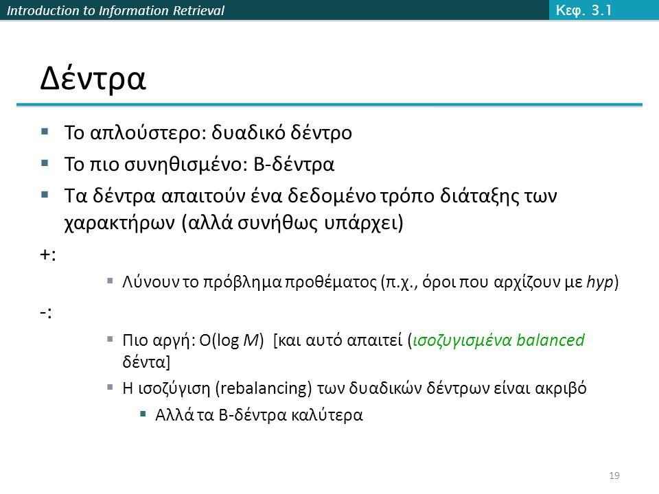Introduction to Information Retrieval Δέντρα  Το απλούστερο: δυαδικό δέντρο  Το πιο συνηθισμένο: B-δέντρα  Τα δέντρα απαιτούν ένα δεδομένο τρόπο διάταξης των χαρακτήρων (αλλά συνήθως υπάρχει) +:  Λύνουν το πρόβλημα προθέματος (π.χ., όροι που αρχίζουν με hyp) -:  Πιο αργή: O(log M) [και αυτό απαιτεί (ισοζυγισμένα balanced δέντα]  Η ισοζύγιση (rebalancing) των δυαδικών δέντρων είναι ακριβό  Αλλά τα B-δέντρα καλύτερα Κεφ.