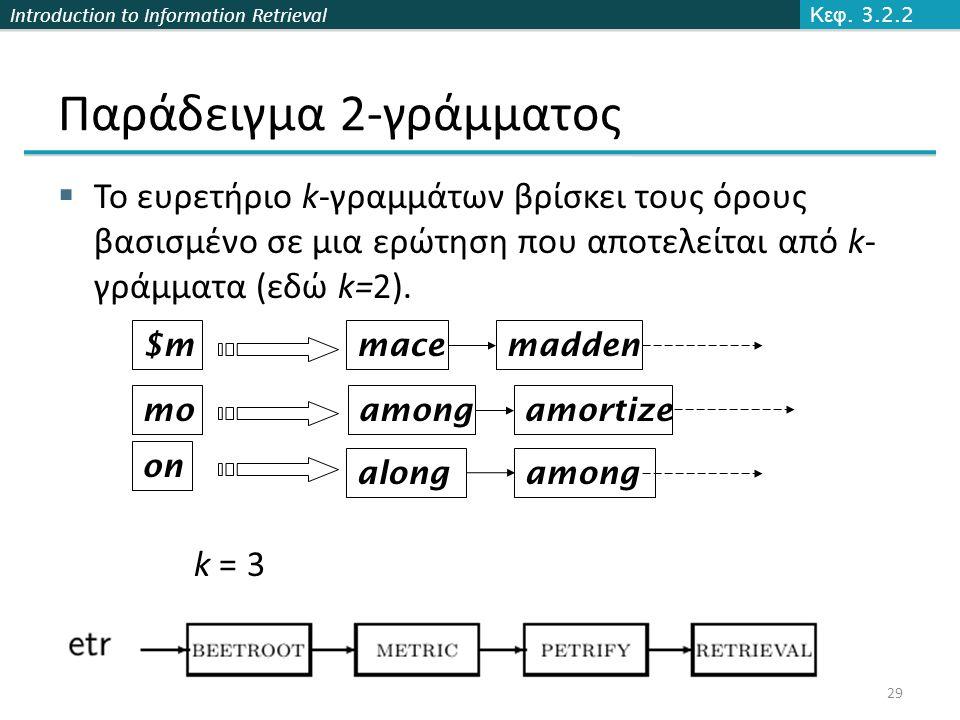 Introduction to Information Retrieval Παράδειγμα 2-γράμματος  Το ευρετήριο k-γραμμάτων βρίσκει τους όρους βασισμένο σε μια ερώτηση που αποτελείται από k- γράμματα (εδώ k=2).