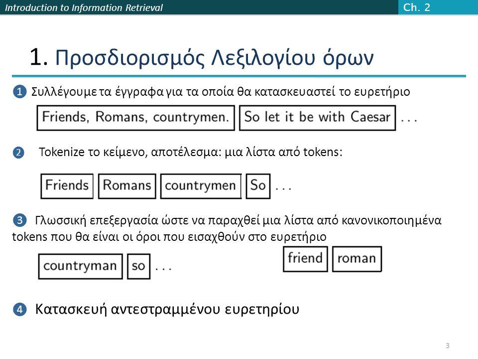 Introduction to Information Retrieval 1. Προσδιορισμός Λεξιλογίου όρων Ch.