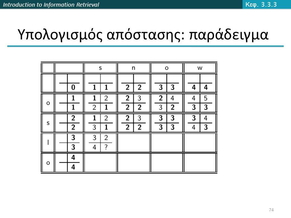 Introduction to Information Retrieval Υπολογισμός απόστασης: παράδειγμα Κεφ. 3.3.3 74