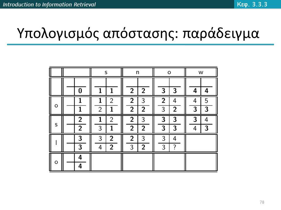Introduction to Information Retrieval Υπολογισμός απόστασης: παράδειγμα Κεφ. 3.3.3 78