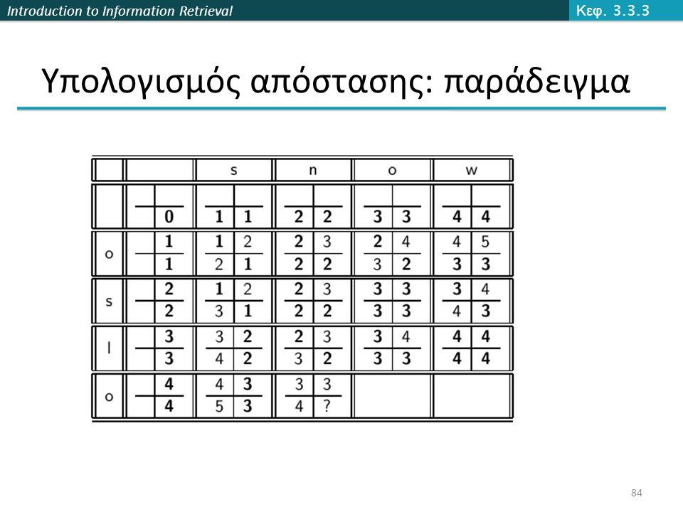 Introduction to Information Retrieval Υπολογισμός απόστασης: παράδειγμα Κεφ. 3.3.3 84