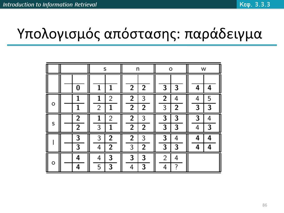Introduction to Information Retrieval Υπολογισμός απόστασης: παράδειγμα Κεφ. 3.3.3 86
